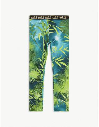 Versace Tropical-printed cotton leggings 6-14 years