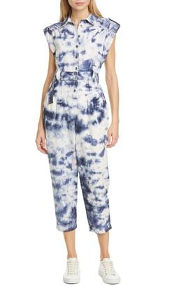 La Vie Rebecca Taylor Tie Dye Crop Cotton Jumpsuit