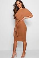 boohoo Petite Louise Tie Waist Formal Wiggle Midi Dress