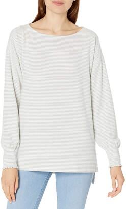 Lucky Brand Women's Long Sleeve Crew Neck Stripe Cloud Jersey Sweater