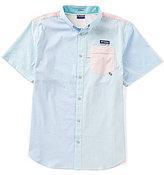 Columbia PFG Super Harborside Tri Color Block Seersucker Striped Short-Sleeve Woven Shirt