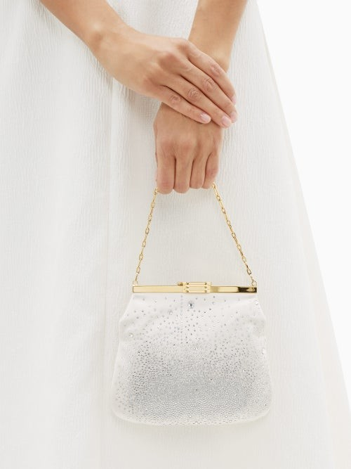Thumbnail for your product : BIENEN-DAVIS 4am Crystal & Satin Clutch Bag - Ivory