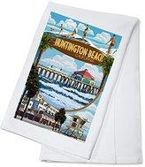 Huntington Beach, California - Montage Scenes (100% Cotton Absorbent Kitchen Towel)