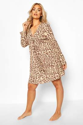 boohoo Plus Leopard Print Long Sleeve Beach Dress