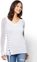 New York & Co. Lace-Up V-Neck Sweater