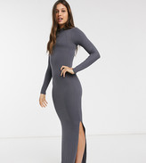 Urban Bliss high neck fitted maxi dress with side splits