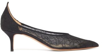 Francesco Russo Pointed Lace-covered Mesh Pumps - Black