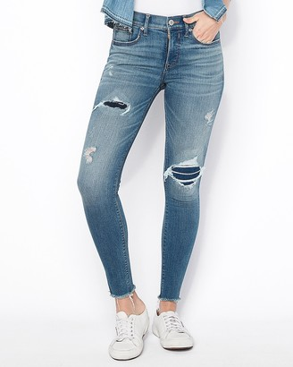 Express Mid Rise Denim Perfect Ripped Ankle Skinny Jeans