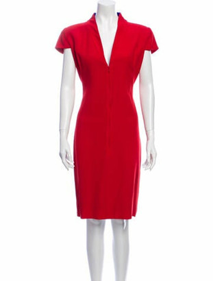 Alexander McQueen V-Neck Knee-Length Dress Red