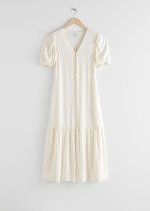And other stories Button-Down Puff Sleeve Midi Dress