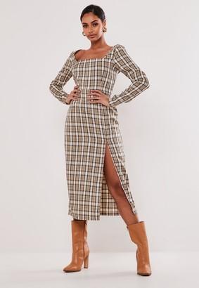 Missguided Brown Check Square Neck Midi Dress