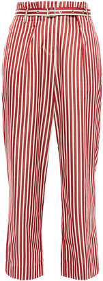 Giorgio Armani Belted Striped Cotton And Silk-blend Straight-leg Pants