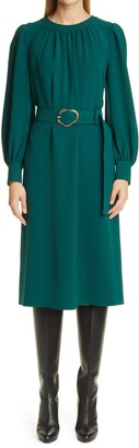 Lafayette 148 New York Iver Finesse Crepe Long Sleeve Midi Dress