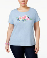 Karen Scott Plus Size Cotton Watermelon-Print T-Shirt, Only at Macy's