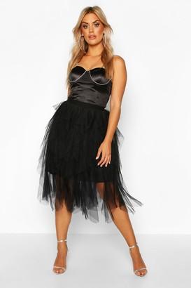 boohoo Plus Tulle Layered Midi Skirt