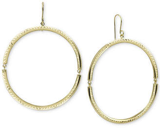 Argentovivo Open Circle Drop Earrings in Gold-Plated Sterling Silver
