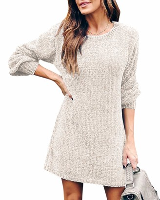 YOINS Womens Jumper Dress Knitted Dress Long Sleeve Slim fit Sweater Ladies Bodycon Sweaters Round Neck Knitwear Pullover Dress Solid~Wine Red XL