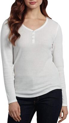 Dickies Women's Plus Size Long-Sleeve 3-Button Henley Shirt