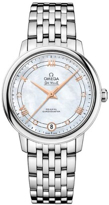 Omega Stainless Steel and Diamond De Ville Prestige Co-Axial Watch 32.7mm