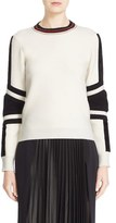 Belstaff Women's 'Kaydence' Faux Fur Trim Colorblock Wool Sweater