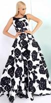 Mac Duggal Rosette Jacquard Print A-line Ball Gown
