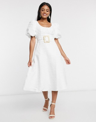 ASOS DESIGN cupped midi dress with belt and puff sleeves in texture in white