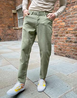 ASOS DESIGN classic rigid corduroy jeans in khaki