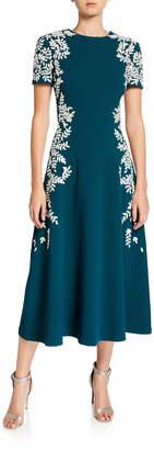Oscar de la Renta Leaf-Print Short Sleeve Dress