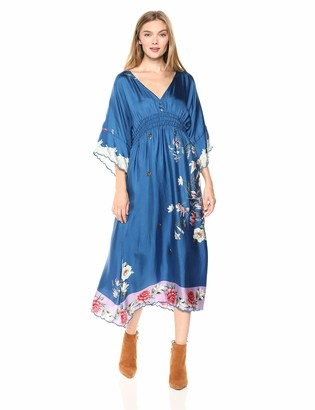 Johnny Was Women's V-Neck Bell Sleeve Pieced Scarf Dress
