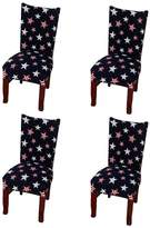 Yiwant Super Fit Stretch Removable Washable Short Dining Chair Cover Protector Seat Slipcover for Hotel,Dining Room,Ceremony,etc - 4 Pack, Style 1004-6