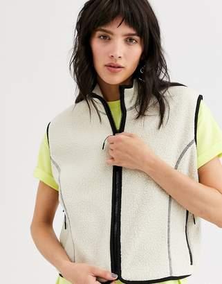 Weekday Malaya Fleece Vest in Cream