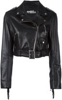 Jeremy Scott cropped biker jacket - women - Sheep Skin/Shearling/Polyester - 46