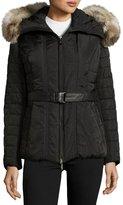 Gorski Quilted Jacket with Fur-Trim Hood, Black