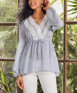 Suzanne Betro Women's Tunics 101BLUE - Blue & White Stripe Lace-Trim Surplice Tunic - Women & Plus