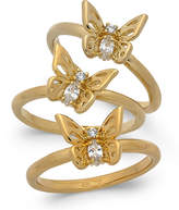 Kate Spade Gold-Tone 3-Pc. Set Crystal Butterfly Stackable Rings