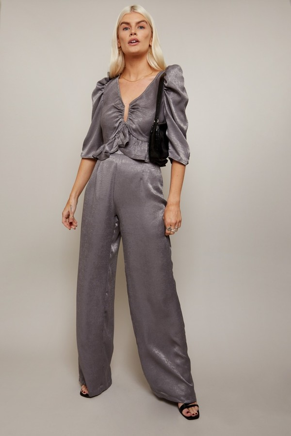 Thumbnail for your product : Little Mistress Influence Charcoal Satin Plunge Top Co-ord