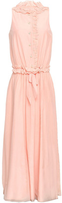 Lanvin Ruffled Cotton And Silk-blend Voile Maxi Dress
