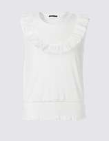 Limited Edition Pure Cotton Poplin Ruffle Vest Top
