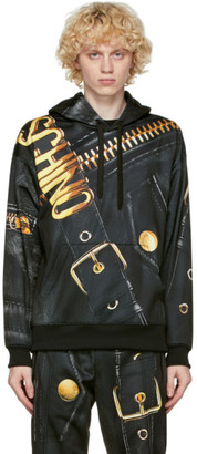 Moschino Black and Gold Leather Print Hoodie