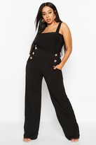 boohoo Plus High Waisted Gold Button Tailored Trouser
