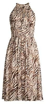 Elie Tahari Women's Dominica Animal Print Halterneck Dress