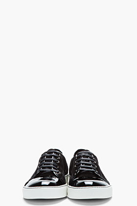 Lanvin Black patent and suede tennis shoes