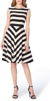 Tahari Women's Stripe Scuba Fit & Flare Dress