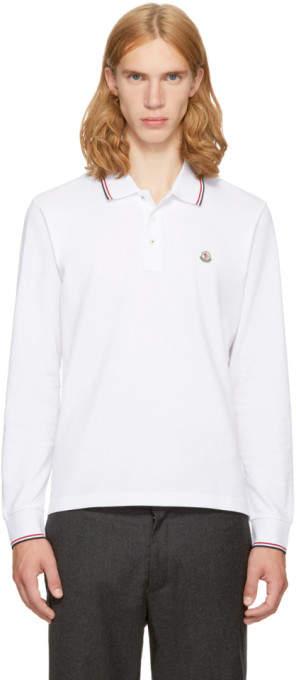 Moncler White Long Sleeve Maglia Polo