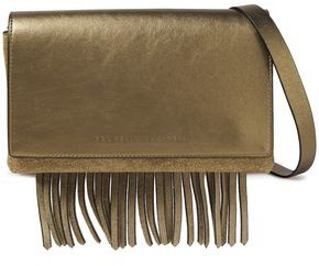 Brunello Cucinelli Fringed Metallic Leather And Suede Shoulder Bag