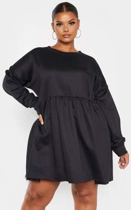 PrettyLittleThing Plus Black Sweat Long Sleeve Shift Dress