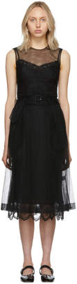 Simone Rocha Black Tulle Belted A-Line Dress