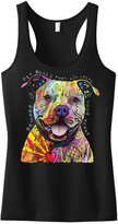 Interstate Apparel Inc Beware Of Pit Bulls They Will Steal Your Heart Junior's Racerback Tank Top (M (Juniors), )