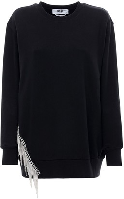 MSGM Crystal Embellished Cotton Sweatshirt