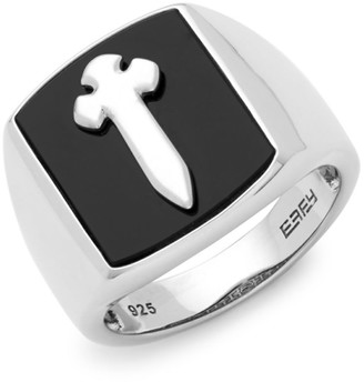 Effy Black Onyx and Sterling Silver Cross Ring